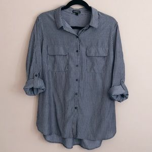 NWOT Express gray striped button up